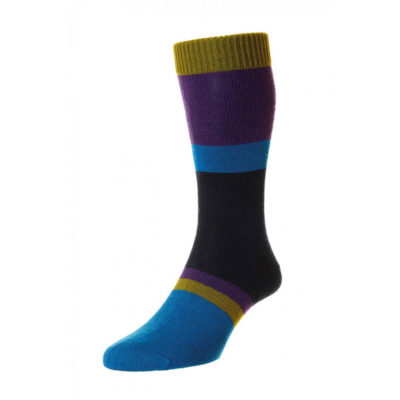 Pantherella Pantherella Hillingdon 4 colour Block Stripe Leisure Knit Navy