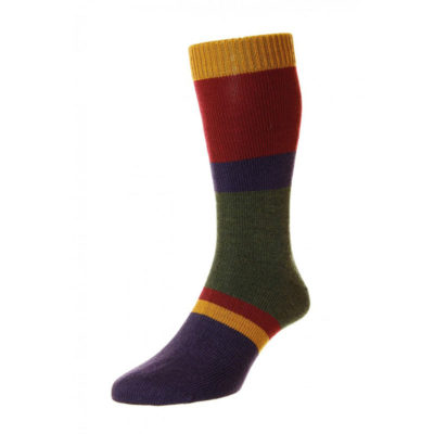 Pantherella Hillingdon 4 colour Block Stripe Leisure Knit